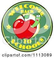 Clipart Welcome Back To School Circle With A Worm In A Red Apple 1 Royalty Free Vector Illustration