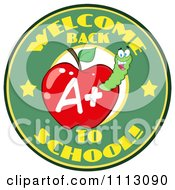 Clipart Welcome Back To School Circle With A Worm In A Red Apple 2 Royalty Free Vector Illustration