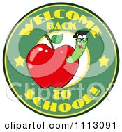 Clipart Welcome Back To School Circle With A Worm In A Red Apple 3 Royalty Free Vector Illustration by Hit Toon