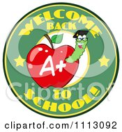 Clipart Welcome Back To School Circle With A Worm In A Red Apple 4 Royalty Free Vector Illustration by Hit Toon