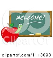 Clipart Happy Worm In A Red Apple With A Welcome Chalk Board Royalty Free Vector Illustration