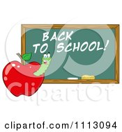 Clipart Happy Worm In A Red Apple With A Back To School Chalk Board Royalty Free Vector Illustration