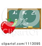 Clipart Happy Worm In A Red Apple With A Math Chalk Board Royalty Free Vector Illustration