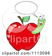 Clipart Happy Talking Worm In A Red Apple Royalty Free Vector Illustration