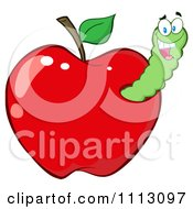 Clipart Happy Worm In A Red Apple Royalty Free Vector Illustration
