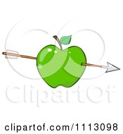 Clipart Arrow Through A Green Apple Royalty Free Vector Illustration