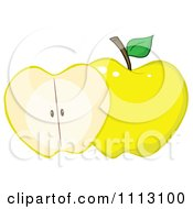 Clipart Halved Yellow Apple Royalty Free Vector Illustration by Hit Toon