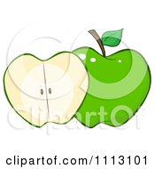 Clipart Halved Green Apple Royalty Free Vector Illustration by Hit Toon