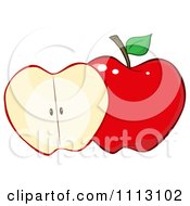 Clipart Halved Red Apple Royalty Free Vector Illustration by Hit Toon