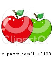 Clipart Red And Green Apple Royalty Free Vector Illustration by Hit Toon