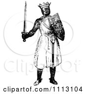 Clipart Vintage Black And White Medieval Knight On With A Shield And Sword 3 Royalty Free Vector Illustration by Prawny Vintage