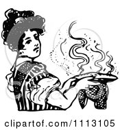 Clipart Vintage Black And White Woman Holding A Hot Pie Royalty Free Vector Illustration