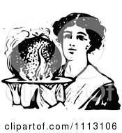 Clipart Vintage Black And White Woman Holding Christmas Plum Pudding Royalty Free Vector Illustration