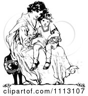 Clipart Vintage Black And White Mother Sitting With Her Daughter Royalty Free Vector Illustration