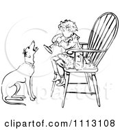 Clipart Vintage Black And White Boy Playing A Horn In A Chair As A Dog Barks Along Royalty Free Vector Illustration