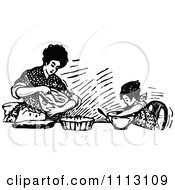 Clipart Vintage Black And White Mother Baking With Her Daughter Royalty Free Vector Illustration by Prawny Vintage