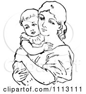 Clipart Vintage Black And White Mother Holding Her Baby Royalty Free Vector Illustration