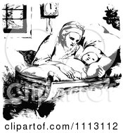 Clipart Vintage Black And White Mother Rocking Her Baby In A Cradle Royalty Free Vector Illustration