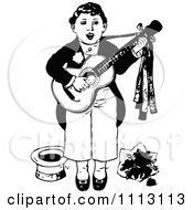 Clipart Vintage Black And White Boy Singing And Playing A Guitar Royalty Free Vector Illustration by Prawny Vintage