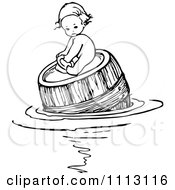 Clipart Vintage Black And White Baby Floating And On A Barrel Royalty Free Vector Illustration by Prawny Vintage