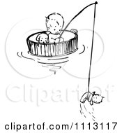 Vintage Black And White Baby Floating And Fishing In A Barrel
