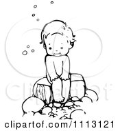 Clipart Vintage Black And White Sitting Over A Bubble Bath Royalty Free Vector Illustration