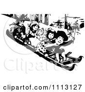 Clipart Vintage Black And White Children Sledding Royalty Free Vector Illustration by Prawny Vintage