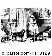 Clipart Vintage Black And White Girl Opening A Door For A Cat Royalty Free Vector Illustration by Prawny Vintage