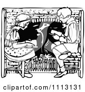 Clipart Vintage Black And White Boy And Girl Reading By A Fireplace Royalty Free Vector Illustration
