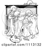 Vintage Black And White Christmas Children By A Fireplace