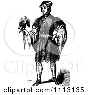 Clipart Vintage Black And White Elizabethan Man With A Bird Royalty Free Vector Illustration