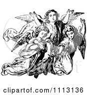 Clipart Vintage Black And White Trio Of Angels Royalty Free Vector Illustration by Prawny Vintage