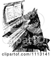 Clipart Vintage Black And White Scottish Terrier Playing A Piano Royalty Free Vector Illustration