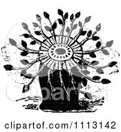 Clipart Vintage Black And White Sea Flower Anemones Royalty Free Vector Illustration