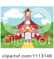 Clipart Red School House With A Ringing Bell Royalty Free Vector Illustration