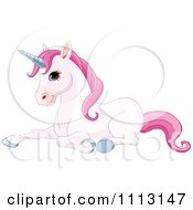 Clipart Cute Pink Unicorn Resting Royalty Free Vector Illustration by Pushkin