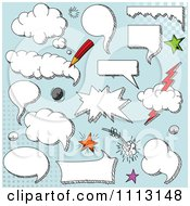 Clipart Cloud Comic Design Elements Over Blue Royalty Free Vector Illustration by Pushkin