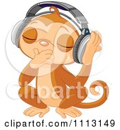 Cute Dj Monkey Closing His Eyes And Listening To Music Through Headphones