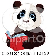 Clipart Cute Panda Reading A Book Royalty Free Vector Illustration by Pushkin