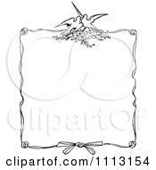 Clipart Black And White Ornate Vintage Love Bird Frame Royalty Free Vector Illustration