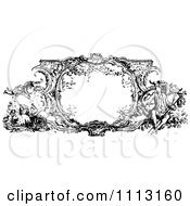 Clipart Black And White Ornate Vintage Frame With French Scenes Royalty Free Vector Illustration