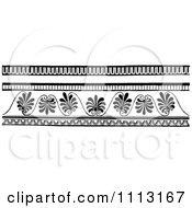 Clipart Vintage Black And White Decorative Art Deco Border Design Elements Royalty Free Vector Illustration