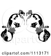 Clipart Vintage Black And White Fleur Floral Design Element 1 Royalty Free Vector Illustration