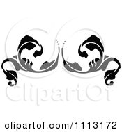 Clipart Vintage Black And White Fleur Floral Design Element 2 Royalty Free Vector Illustration