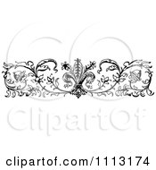 Clipart Vintage Black And White Ornamental Fleur Border Design Element Royalty Free Vector Illustration