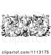 Clipart Vintage Black And White Ornamental Fleur And Urn Border Design Element Royalty Free Vector Illustration