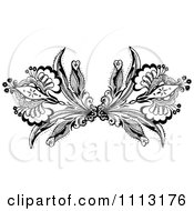 Clipart Vintage Black And White Ornamental Double Fleur Border Design Element Royalty Free Vector Illustration
