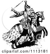 Clipart Vintage Black And White Medieval Knight On Horseback 1 Royalty Free Vector Illustration