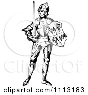 Clipart Vintage Black And White Medieval Knight On With A Shield And Sword 1 Royalty Free Vector Illustration by Prawny Vintage