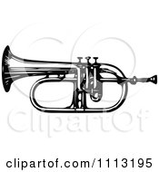 Clipart Vintage Black And White Bugle Horn Royalty Free Vector Illustration